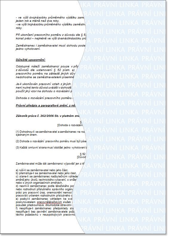 Výpověď dohodou vzor